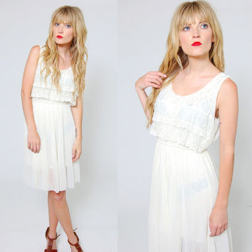 Vintage LACE Slip Dress Sleeveless Cream Blouson Mini Dress Sheer Boho Dress