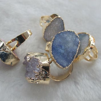 2014 Hot Sale Druzy agate rings-adjustable size gemstone ring-agate geode druzy slice rings for men and women-sold individually