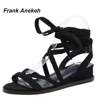 Frank Anekeh 2017 Gladiator Women Wedges  Sandals Lace Up Knee High Strappy Boots Summer Open Toe Cross Strap Shoes Size 34-39
