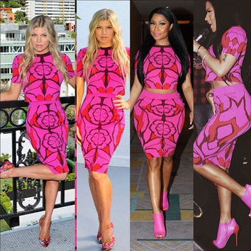 2 Pieces Set Women Hot Pink Print Slim Sexy Club Dress 2015 Novelty Celebrity Clothing  Bodycon Bandage Dress