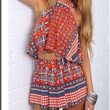 CUTE TOTEM  DESIGN TWO PIECE ROMPER