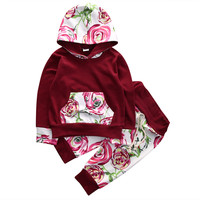 Newborn Baby Clothes Cotton Baby set  Baby Boy Girls Floral Hooded Coat Hoodies+Pants 2PCS Outfits Clothes Set