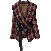 Buy Elegant Check V-Collar Lapel Lace-Up Tweed Coat Red with cheapest price|wholesale-dress.net