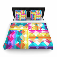 "Miranda Mol ""Triangle Checker"" Pastel Rainbow Woven Duvet Cover"