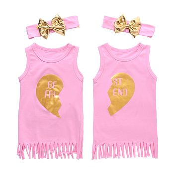 Summer Kids Baby twin Girls Sister Dress Sleeveless Tassels Casual Cotton Tassel Dress