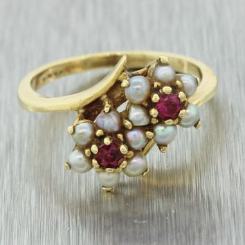 1880s Antique Victorian 14k Yellow Gold Ruby Seed Pearl ByPass Cocktail Ring