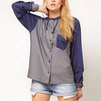 ASOS Shirt With Hood And Stripe Panel