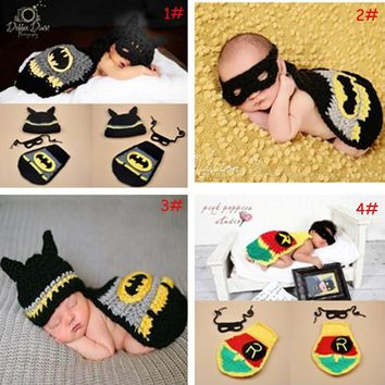 Crochet Batman Baby Photography Props Newborn BABY Super Hero Outfit