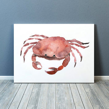 Watercolor art Crab poster Nursery print ACW25
