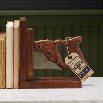 Vintage Saw Bookend Set - Acacia Wood and Steel