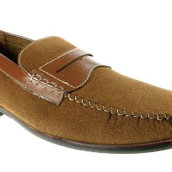 Mens Ferro Aldo Penny Loafers Suedette Dress Shoes 19212-A Brown-315