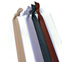 Neutral HEADBANDS - Fold Over Elastic Hairbands - Soft Stretchy Headbands for Gym or School - Ribbon Headbands in Beige, Brown, Gray & Black