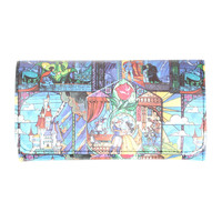 Disney Beauty And The Beast Stained Glass Flap Wallet