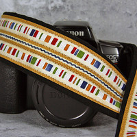 Country Stripe Camera Strap, dSLR, SLR, Tan, Blue, Gold, Red, Green,  203 w