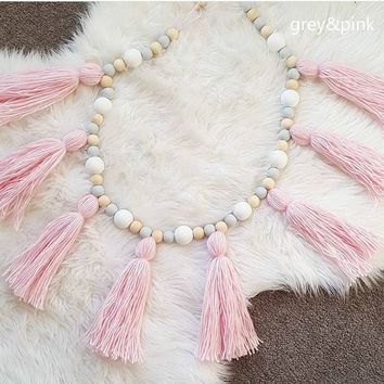 Ins Large Nordic Style Macarons Wooden Beads Tassels Hanging Decorative Children's Room Decoration Pendant