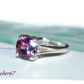 Purple Topaz Ring, Mystic Topaz, 2.5 Carats, sterling Silver Ring With Round Stone