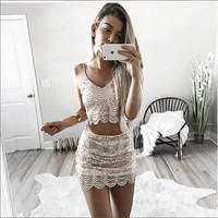 Fashion Sexy Sequin Strap Wave Stripe Two Pieces of Short Skirt