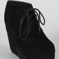 Berkeley-01 Suede Lace Up Wedge Bootie