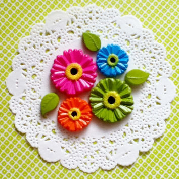 Daisy Cabochons Flatbacks, Mixed Colors