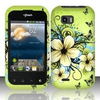 BUTTERFLY & FLOWERS Hard Rubber Feel Plastic Design Case for LG myTouch Q C800 / Maxx Q (T-Mobile Slider Version) [In Twisted Tech Retail Packaging]