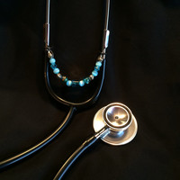 Aqua Beaded Stethoscope Charm