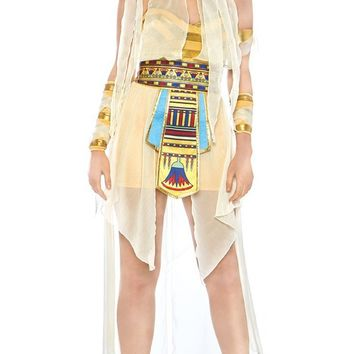 Egyptian Princess Gold Sleeveless Cut Out Choker Collar Mini Dress Halloween Costume