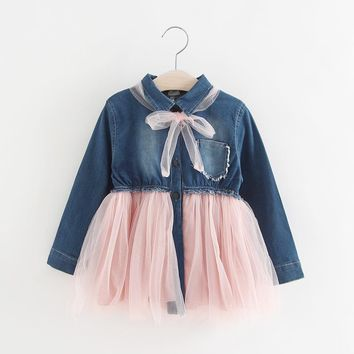 Girls long sleeve denim dress