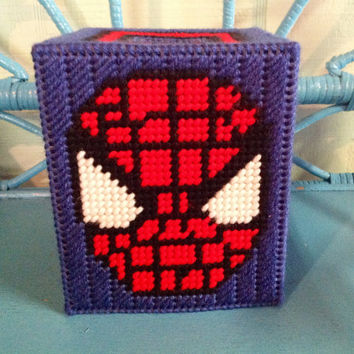 Spiderman Tissue Box Cover, Spiderman Gift, Plastic Canvas Box, Superhero Gift, Comic Book Box, Boutique Box Cover, Custom Bathroom Decor