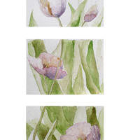 Tulips 3 in 1 art print spring flowers pastel green