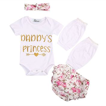 Newborn Baby Girl Clothes Flower Short Sleeve Romper +Triangle shorts + Lace Leg Warmer 3pcs Outfits Clothing Set