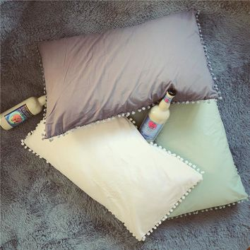 Cilected Solid Cotton Pillowcase Home Bedding Super Soft Pom Pillow Cover Wedding Gift Design Pillow Case For Couple Him Her 2pc