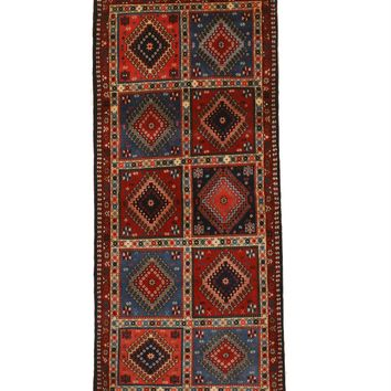 EORC Hand-knotted Wool Blue Traditional Geometric Yalameh Rug