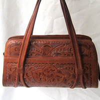 Vintage original hippie boho 1960s hand tooled Mexican tan leather hand bag