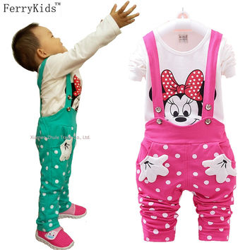 Kids Clothes Girls Clothing Sets Baby Toddler Girl Clothing Children Clothes Overalls Long Sleeve T shirt Spring Autumn 2016 New