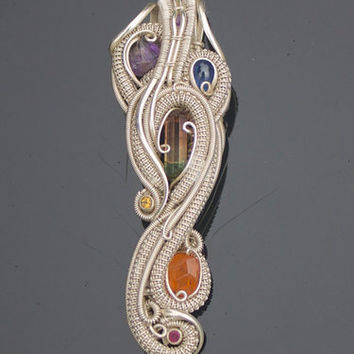 handmade wire wrapped jewelry heady pendant gemstones fine sterling silver