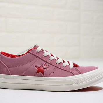 KUYOU Hello Kitty x Converse One Star Black Suede Low Top Skate Shoes Pink