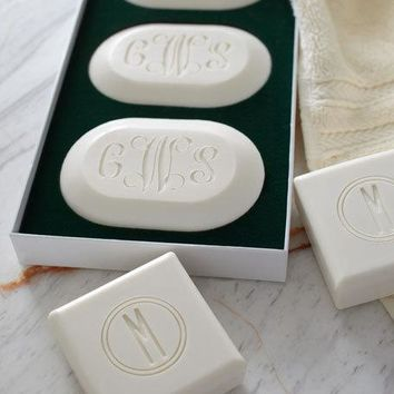 Carved Solutions Three Square Soaps with Single Initial