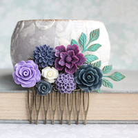 Purple Bridal Hair Comb Navy Blue Wedding Lavender Rose Hair Comb Bridesmaid Gift Wedding Hair piece Dahlia Verdigris Branch Comb