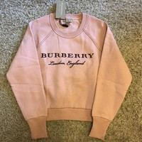 Burberry Fashion Casual Women Letter Embroidery Logo Pink Pullover Sweater G