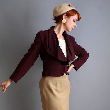 Storewide Sale - Eggplant Purple Jacket. Office Fashion. Retro 50s. Mad Men. Fall Fashion