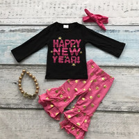 Happy New Year print long sleeves hot pink/white dot  pants with ruffles kids clothing girls cotton with matching accessories