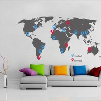 World Map With Pins Sticker - Moon Wall Stickers