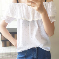 White Floral  Lace Strapless Short Sleeved Shirt