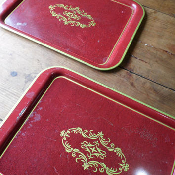 FREE SHIPPING - Metal Trays/Red Trays/Vintage Serving Trays/TV Trays