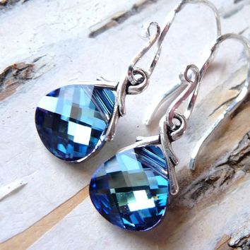 Ocean Blue Crystal Earrings, Aquamarine & Sapphire Blue Swarovski Crystals, Sterling Silver Briolettes, Fashion