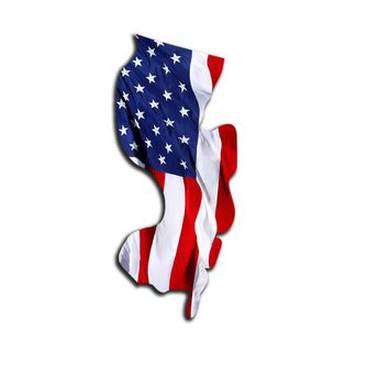 New Jersey Waving USA American Flag. Patriotic Vinyl Sticker