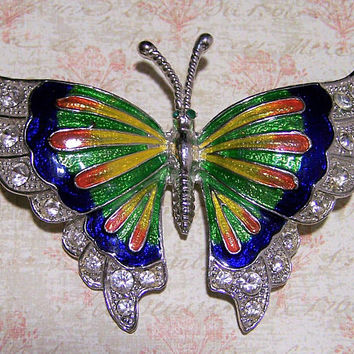 Rhinestone Enamel Butterfly Brooch Pin, Silver Tone Large Figural Flying Bug Brooch, Glass Stones, Costume Jewellery 1217