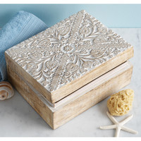 Floral Mango Wood Box - India