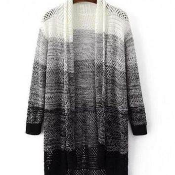 New Women Grey Color Block Pattern Collarless Streetwear Knit Cardigan Sweater