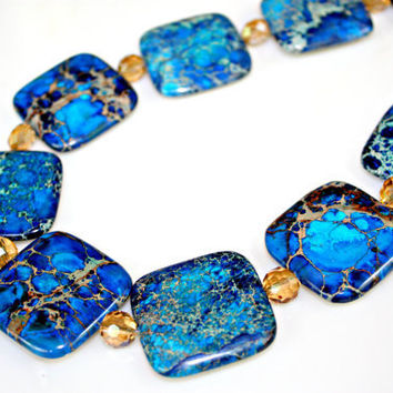 Chunky Chic Deep Blue Sea Imperial Jasper with Champagne Crystals Toggle Necklace by Mei Faith
